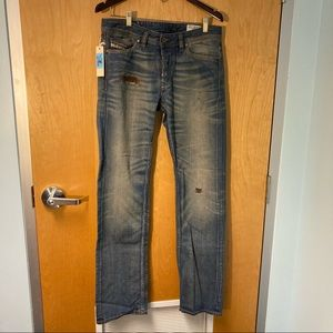 DIESEL INDUSTRY Viker Button Fly Distressed Mid Rise Straight Leg Sz 31 x 34